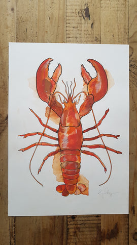 Original A3 Watercolour Lobster