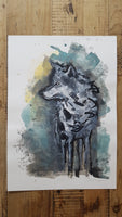 Original A3 Watercolour wolf