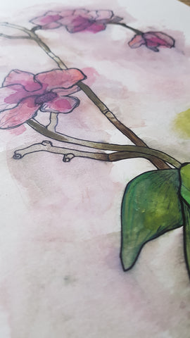 Original A3 Watercolour orchid