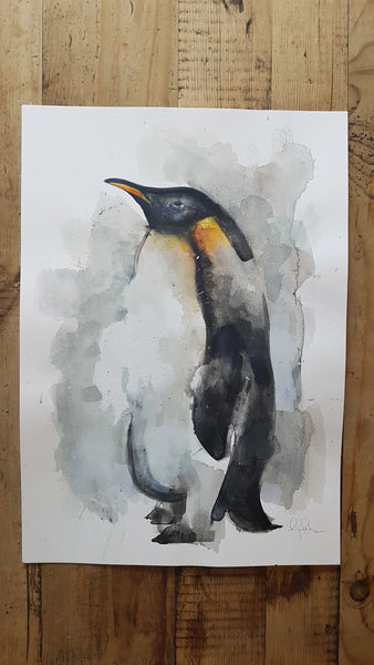 Original A3 Watercolour penguin