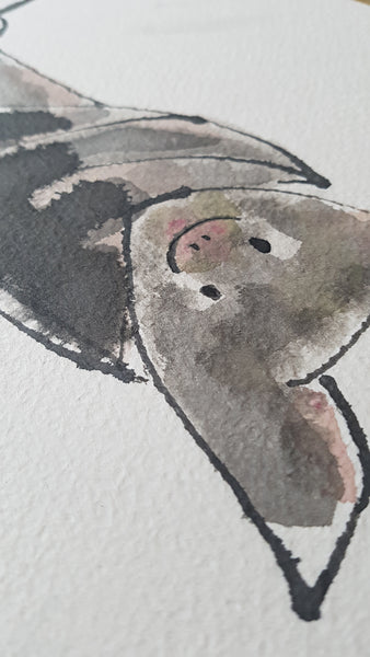Original A4 Watercolour of totally batty
