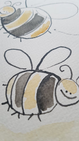 Original A4 Watercolour of happy beeday