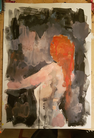 A3 original watercolour Redhead.