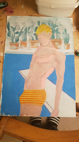 Original A3 Watercolour and gouache art for Poolboy