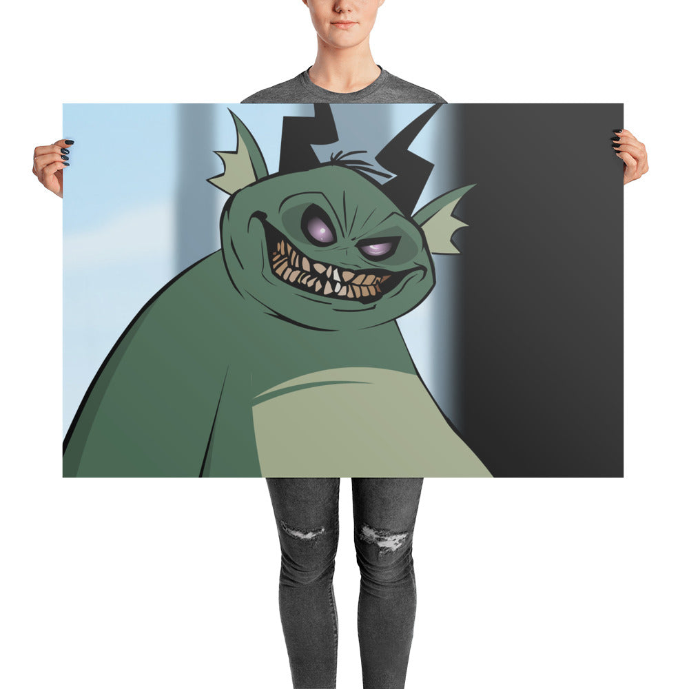 Smiley Green Demon Poster
