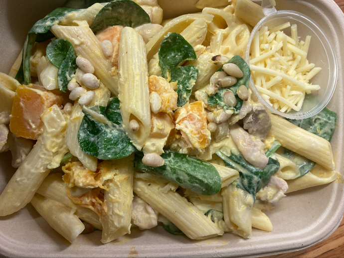 Chicken, Pumpkin & Spinach Cream Pasta
