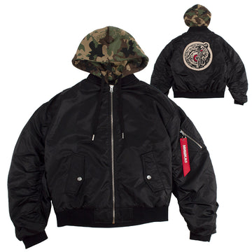 Lamour Split Icon Camo-Hooded Flight Jacket