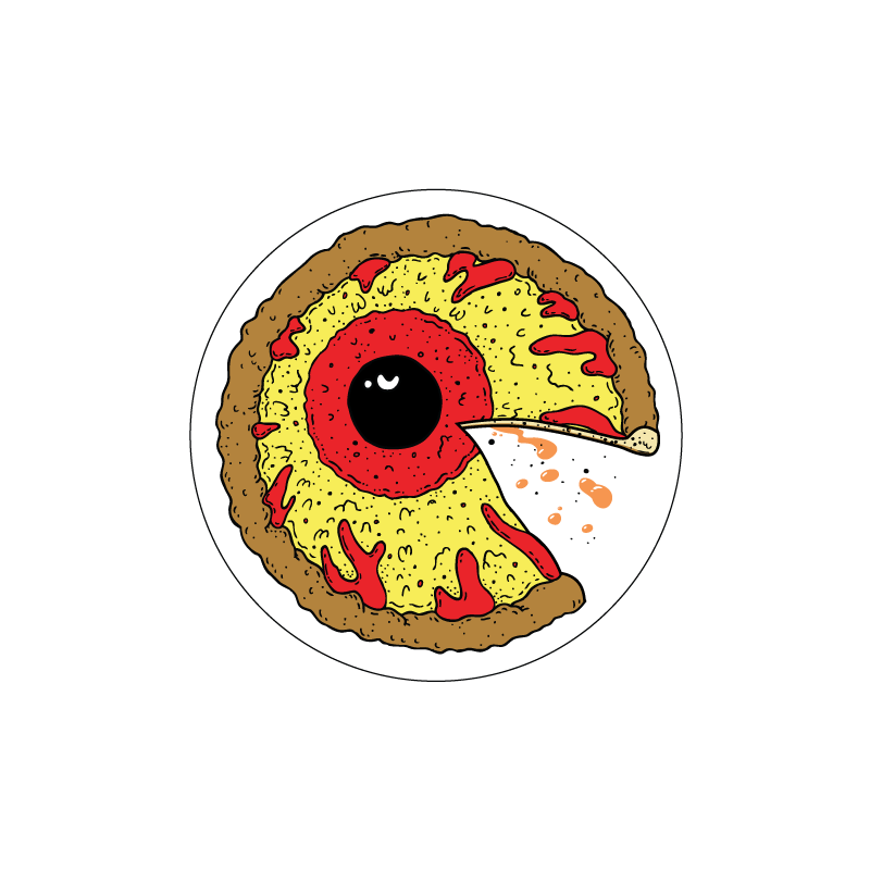 Pizza Keep Watch Clear Vinyl Sticker - Mishka