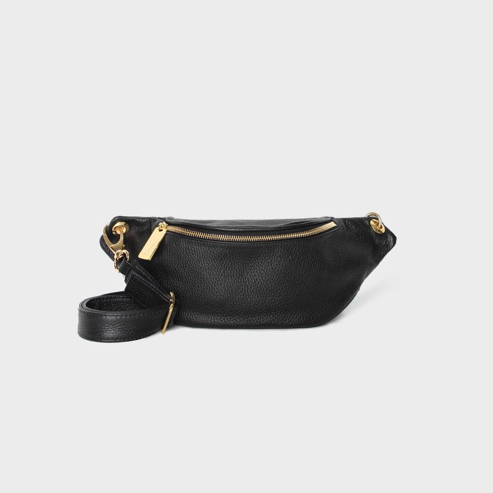 Crescent Belt Bag Grain Black