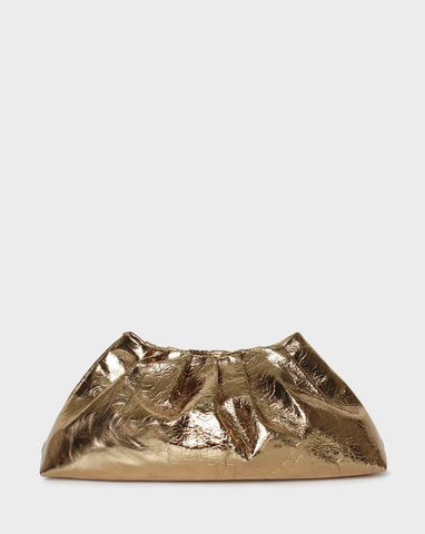 Pleat Clutch Gold Metallic