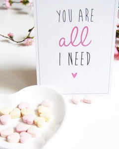 Postkarte 'You are all I need'