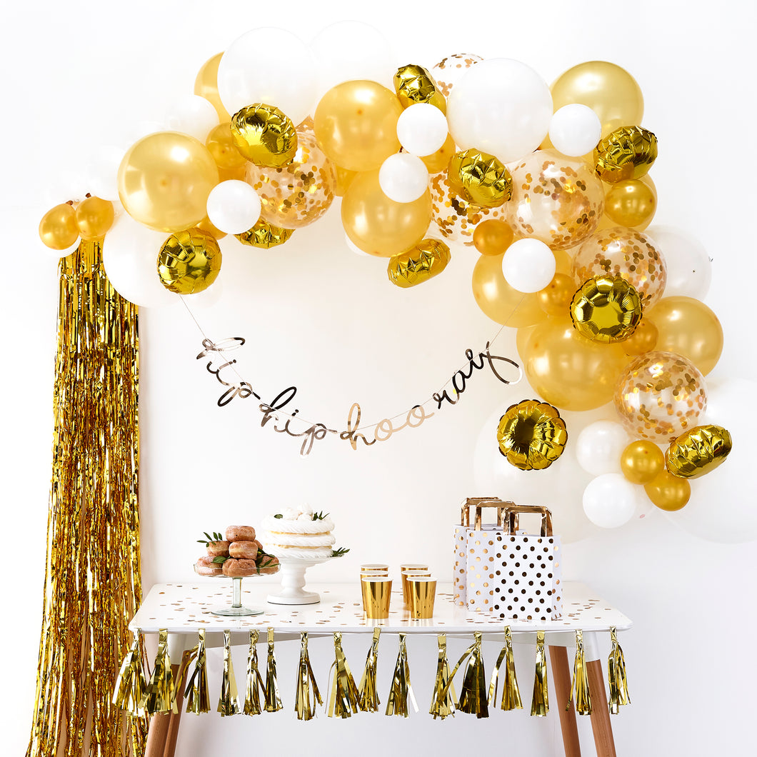 Ballon Girlande Gold Konfetti Luftballons Party Deko