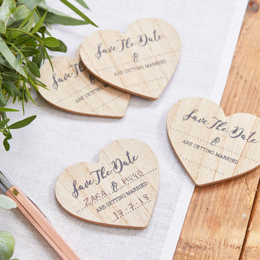 10 Save The Date Magnete Einladung Holz