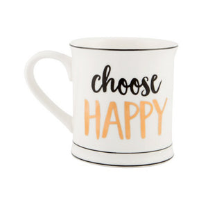 Choose Happy Tasse Porzellan Gold
