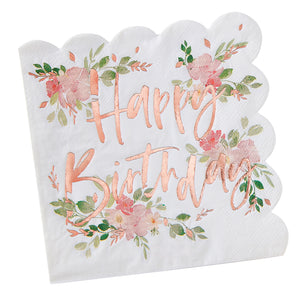 Happy Birthday Servietten Blumen Rosé