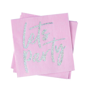 Servietten 'Let's Party' Pink Glitzer