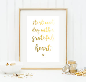 Gold-Poster 'Grateful Heart' A4