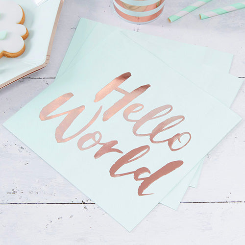 Servietten 'Hello World' Babyparty Mint