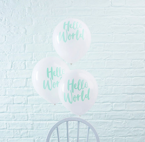10 Ballons 'Hello World' Babyparty