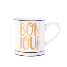 Laden Sie das Bild in den Galerie-Viewer, Tasse / Becher Bonjour Kaffeetasse Gold