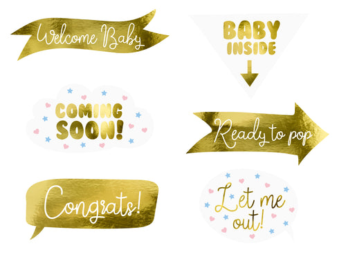 Foto Accessoires Babyparty Gold-Weiss