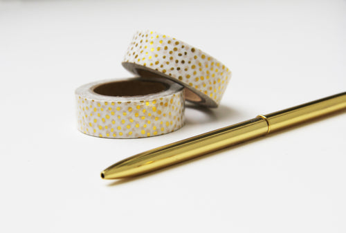 Washi Tape Gold Weiss Punkte