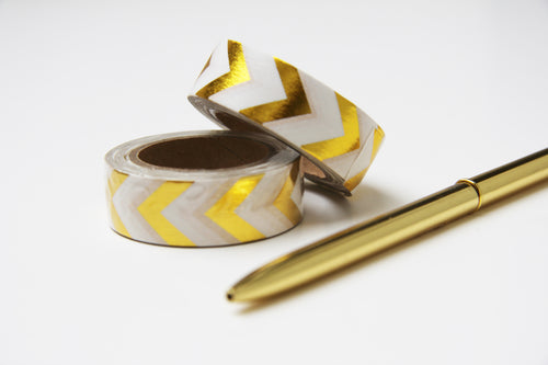 Washi Tape Gold Weiss