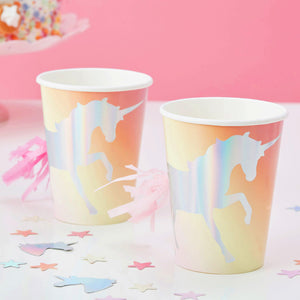 8 Einhorn Becher Party Deko
