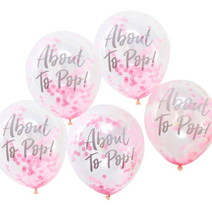 Konfetti Luftballons 'About To Pop' Baby Pink