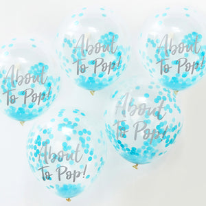 Konfetti Ballons 'About To Pop' Baby Blau