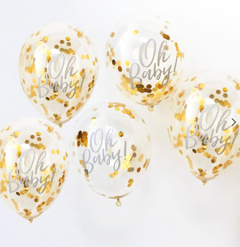 Oh Baby Ballons Konfetti Gold