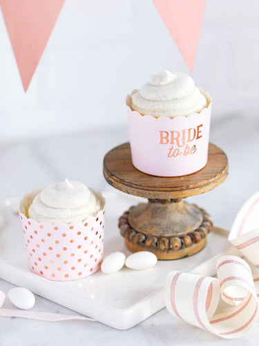 50 Cupcake Förmchen Bride To Be JGA Roségold Backform