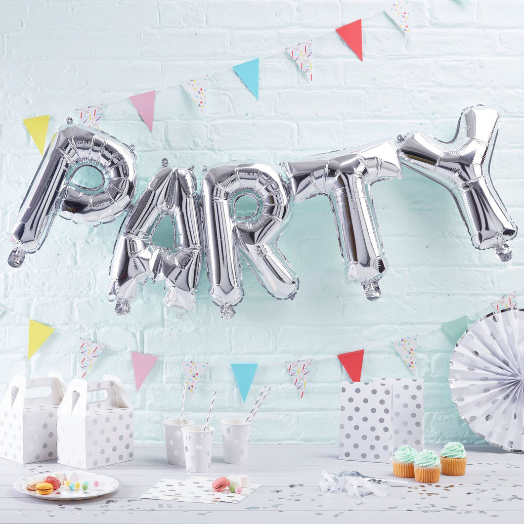 Party Ballon Girlande Silber
