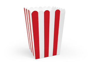 6 Candy Bags Popcorn Boxen Rot Weiss