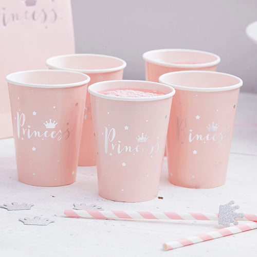 8 Trinkbecher Prinzessin Party Rosa