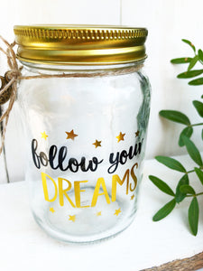 Wunschglas 'Follow Your Dreams' Spardose / Gästebuch
