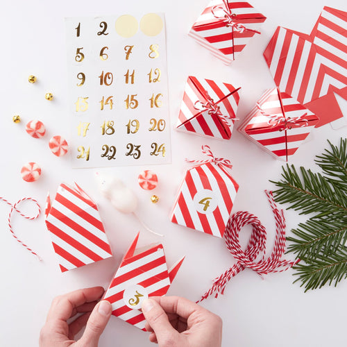 Adventskalender Set 24 Boxen mit Gold-Stickern DIY