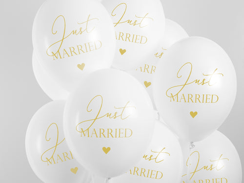 5 Ballons Just Married Goldschrift Event Luftballons Party Deko Gold