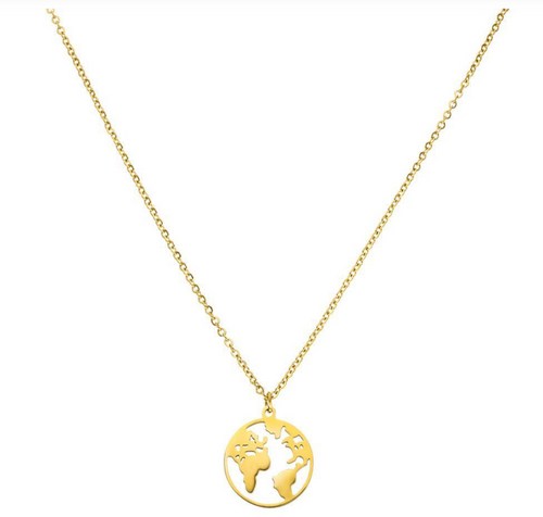 Worldmap Necklace Schmuck Halskette Gold
