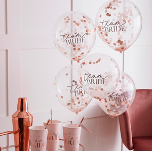 5 Team Bride Ballons Konfetti Roségold Brautparty