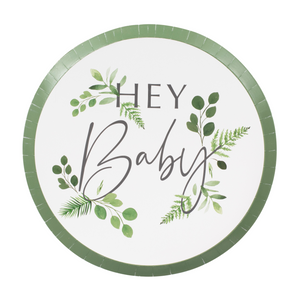 8 Pappteller Hey Baby Eukalyptus Babyparty