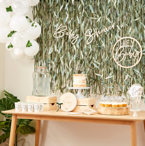 Baby Girlande Holz Babyshower Geburt Babyparty