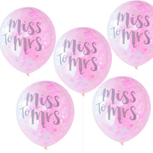 Laden Sie das Bild in den Galerie-Viewer, 5 Ballons Konfetti Brautparty 'Miss To Mrs' Pink