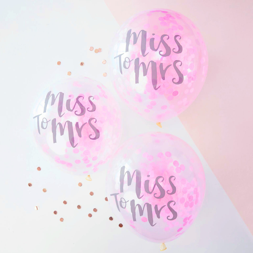 5 Ballons Konfetti Brautparty 'Miss To Mrs' Pink