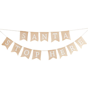Santa Please Stop Here Girlande Weihnachten