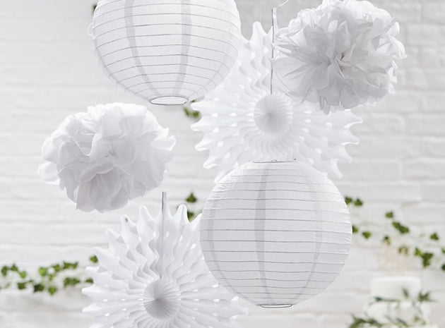 Party Deko Lampion Pom Pom Set Wanddeko Papierdeko