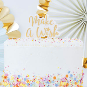 Geburtstag Kerze Make A Wish Cake Topper Gold