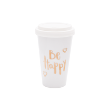 Laden Sie das Bild in den Galerie-Viewer, Coffee To Go Becher Porzellan Be Happy Gold