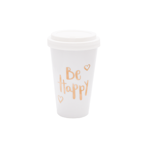 Coffee To Go Becher Porzellan Be Happy Gold