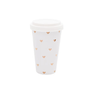 Coffee To Go Becher Porzellan Herzchen Gold